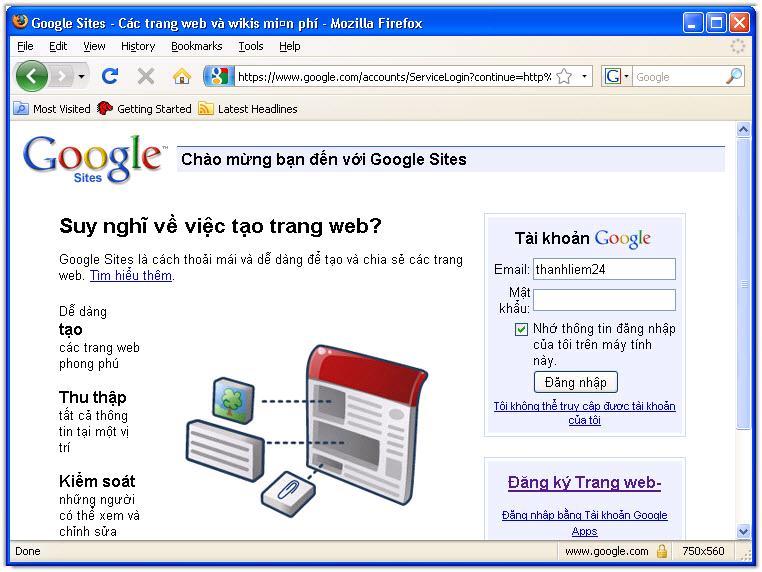 Thiết kế web miễn phí với Google - Tạo account