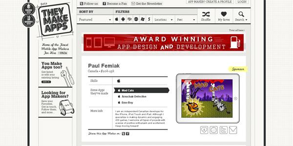 Mẫu thiết kế web sáng tạo 2011 - Theymakeapps.com